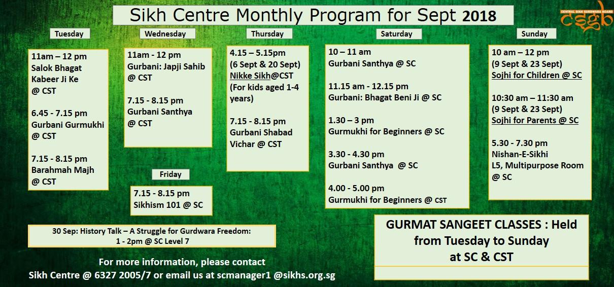 Sikh Centre Monthly Calendar – Sept